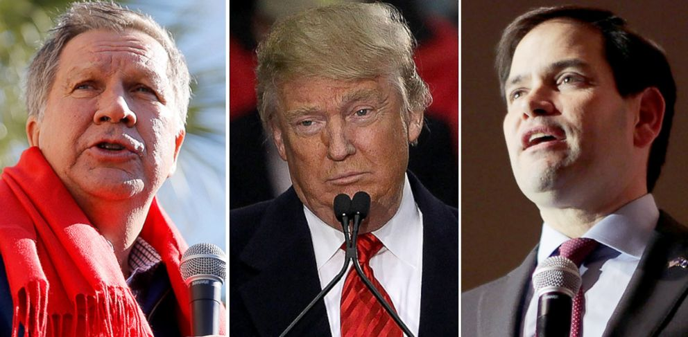 PHOTO: Presidential candidates John Kasich, left, Donald Trump and Marco Rubio campaign in South Carolina.