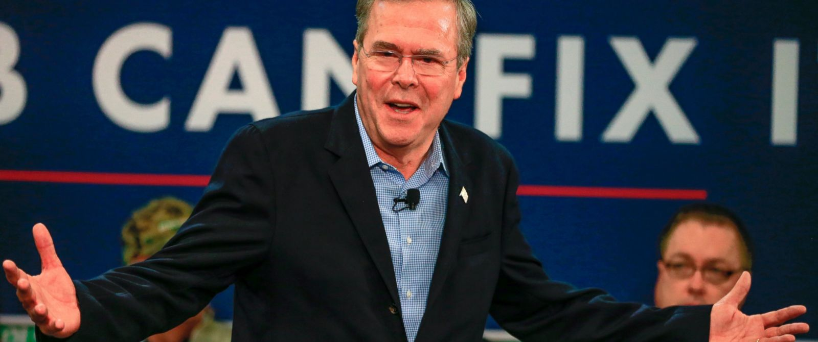 PHOTO:Republican presidential candidate Jeb Bush speaks during a campaign event at the Coca Cola bottling plant in Atlantic, Iowa, Nov. 11, 2015.
