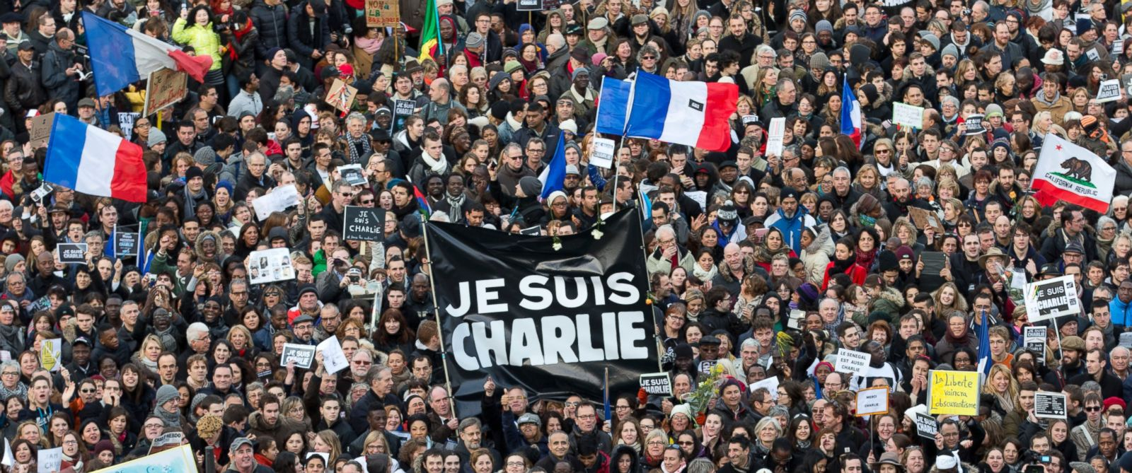 PHOTO: Thousands of people gather at Republique square in Paris, France, on Jan. 11, 2015 for a rally of defiance and sorrow to honor the 17 victims of three days of bloodshed that left France on alert for more violence.