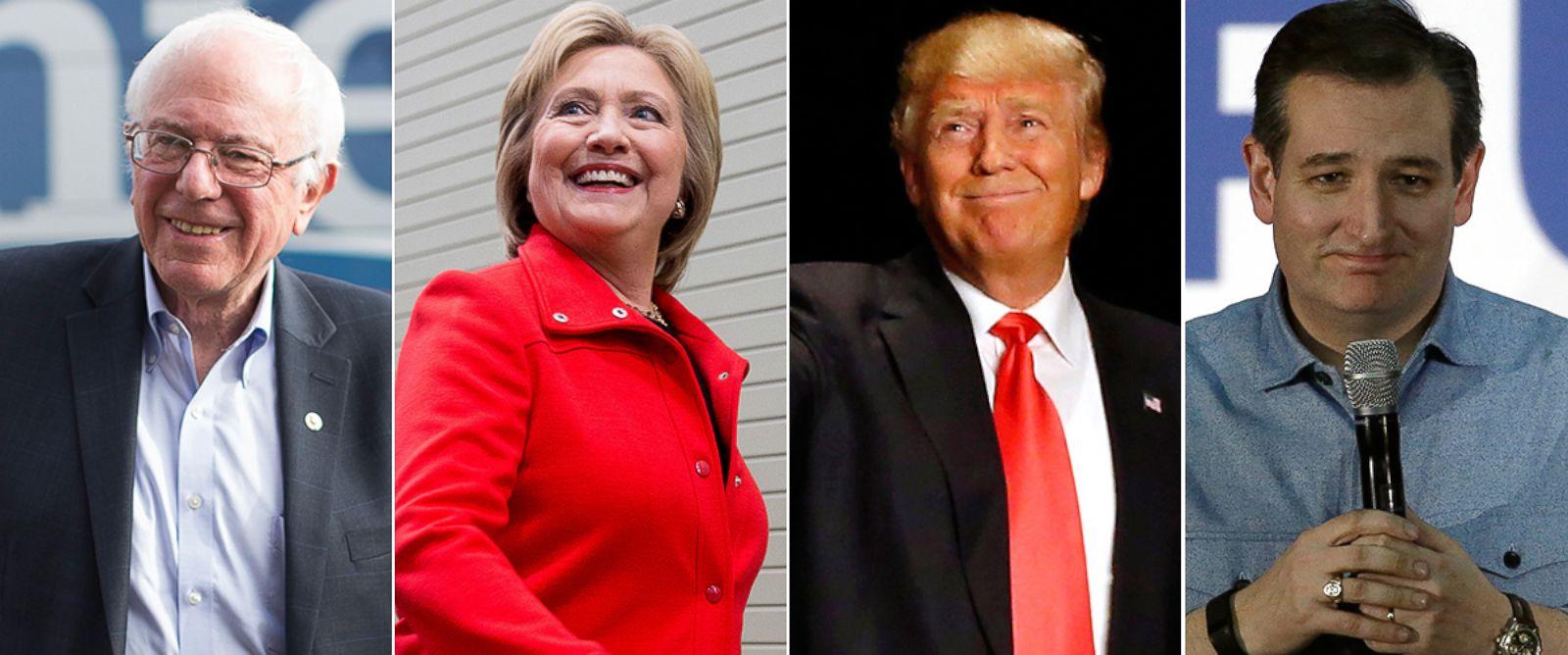 PHOTO: Bernie Sanders, Jan. 31, 2016, in Waterloo, Iowa. Hillary Clinton arrives in Des Moines, Jan. 30, 2016. Donald Trump walks onstage for an event in Sioux City, Iowa, Jan. 31, 2016. Ted Cruz speaks in Des Moines, Jan. 31, 2016, in Des Moines.