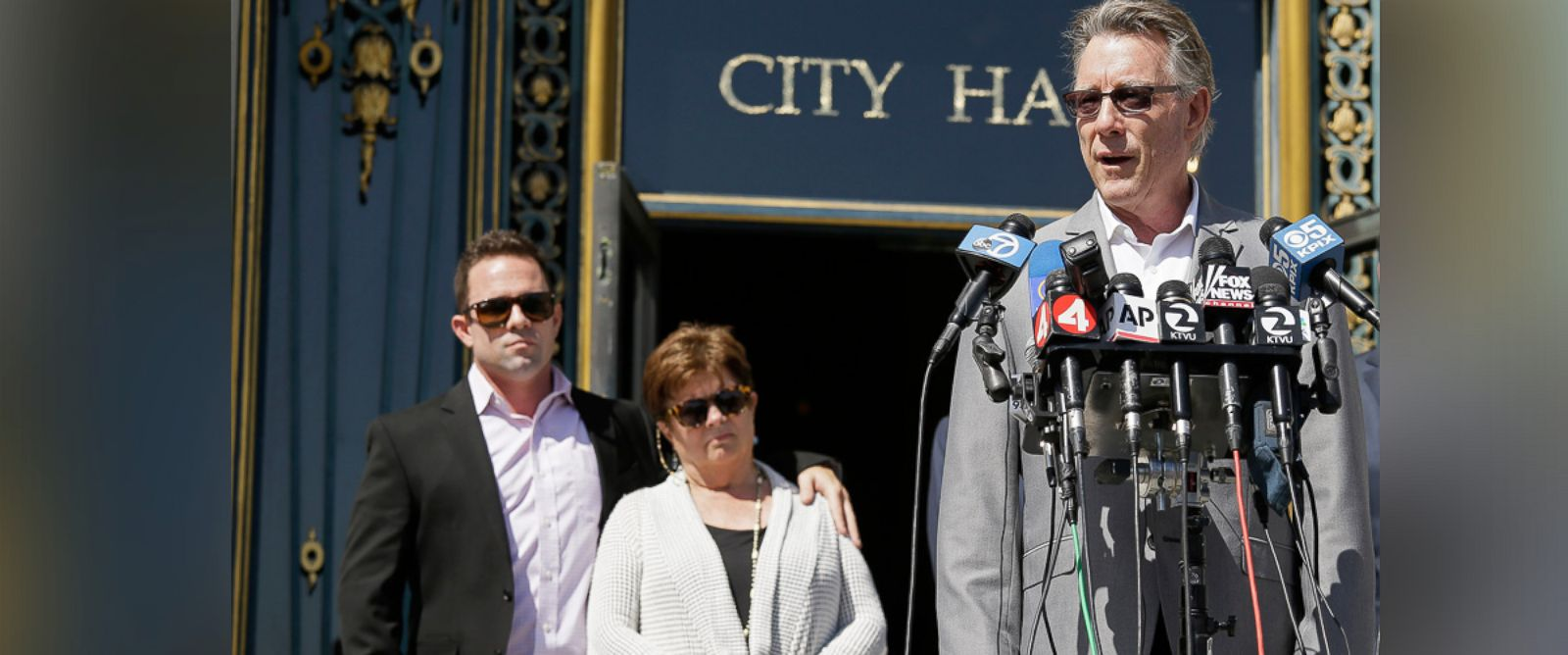PHOTO: Jim Steinle, right, father of Kathryn Steinle, along with Brad Steinle and Liz Sullivan, the brother and mother of Kathryn Steinle, answer questions during a news conference on the steps of City Hall Tuesday, Sept. 1, 2015, in San Francisco.