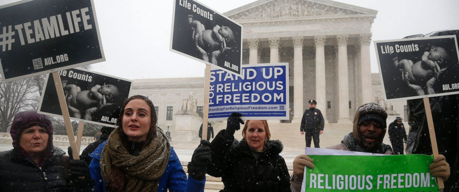 PHOTO: Demonstrators participate in a rally in front of the Supreme Court in Washington on March 25, 2014.