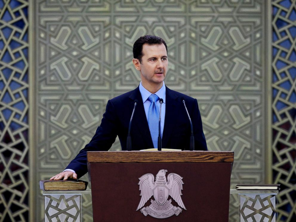 PHOTO: Syrias President Bashar Assad is sworn for his third, seven-year term, in Damascus, Syria, in this July 16, 2014, file photo.