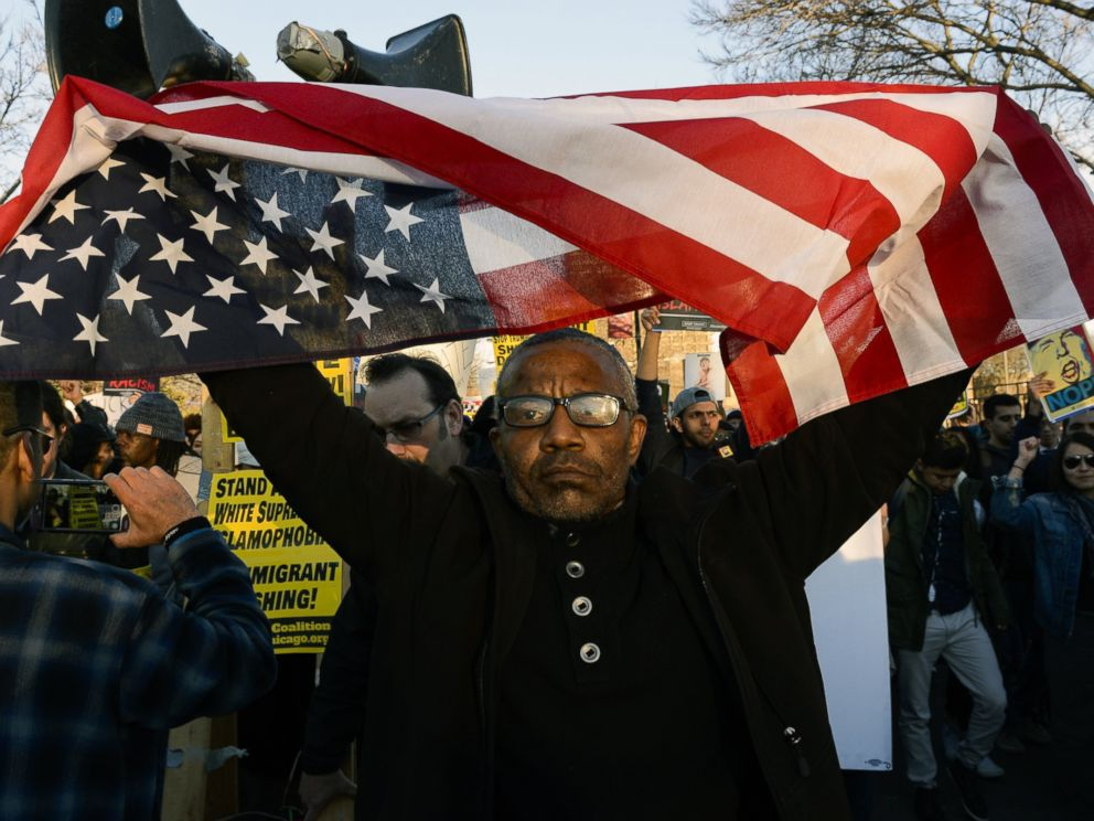 PHOTO: Sanko Hampton marches in Chicago, March 11, 2016, before a rally with Republican presidential candidate Donald Trump at the University of Illinois-Chicago.