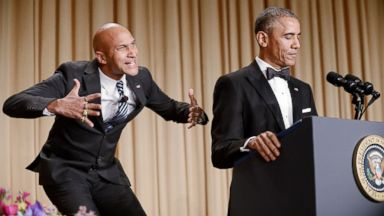 PHOTO: President Barack Obama, right, and actor Keegan-Michael Key from Key & Peele are seen during the annual White House Correspondents Association Gala at the Washington Hilton hotel, April 25, 2015 in Washington.