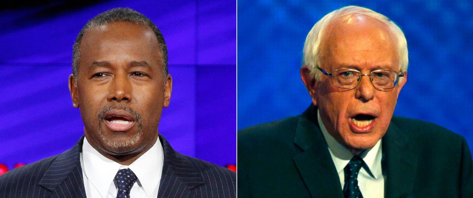 PHOTO: (L-R) Ben Carson speaks in Las Vegas, Dec. 15, 2015 and Bernie Sanders speaks in Manchester, N.H., Dec. 19, 2015.