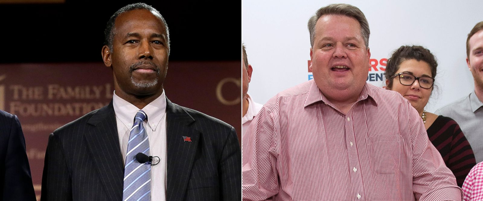 PHOTO: Ben Carson stands on stage during the Presidential Family Forum, Nov. 20, 2015, in Des Moines, Iowa. Ben Carsons former campaign manager Barry Bennett at the Carson campaign headquarters in Alexandria, Va., Sept. 30, 2015.