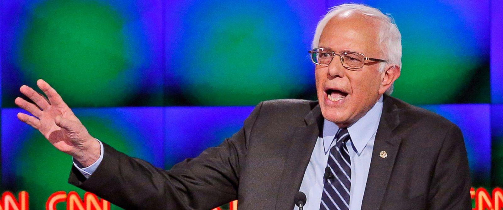 PHOTO: Sen. Bernie Sanders, I-Vt., speaks during a CNN Democratic presidential debate, Oct. 13, 2015, in Las Vegas.