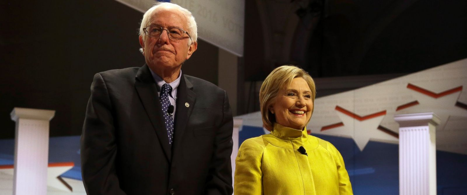 PHOTO: Democratic presidential candidates Sen. Bernie Sanders, left, and Hillary Clinton take the stage before a Democratic presidential primary debate at the University of Wisconsin-Milwaukee, Feb. 11, 2016, in Milwaukee.