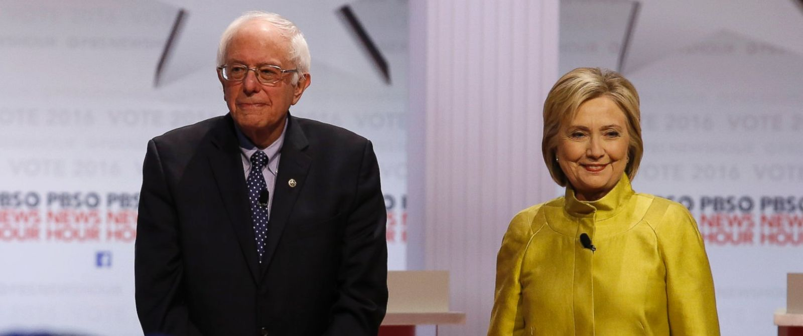 PHOTO: Democratic presidential candidates Sen. Bernie Sanders, I-Vt, left, and Hillary Clinton take the stage before a Democratic presidential primary debate at the University of Wisconsin-Milwaukee, Feb. 12, 2016, in Milwaukee.
