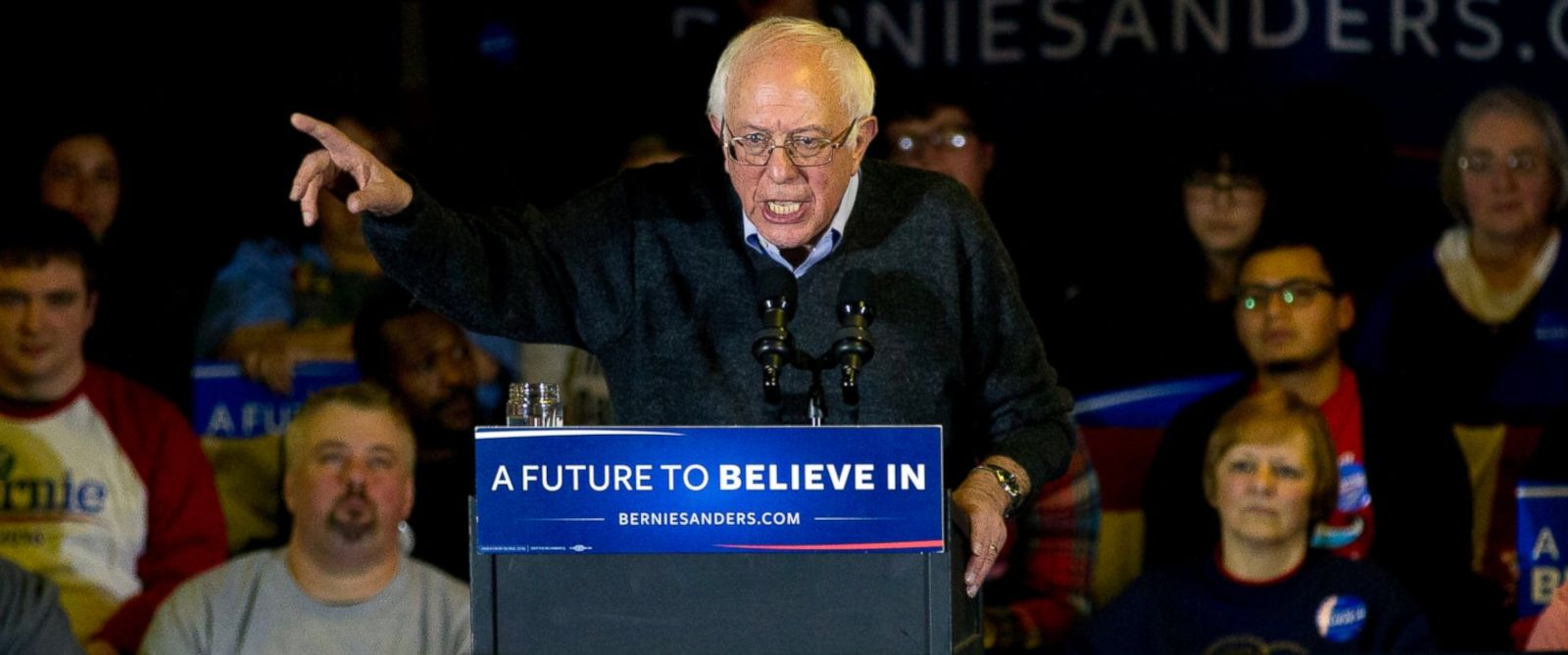 PHOTO:Democratic presidential candidate Sen. Bernie Sanders addresses the crowd at a campaign event, Jan. 23, 2016, in Clinton, Iowa.