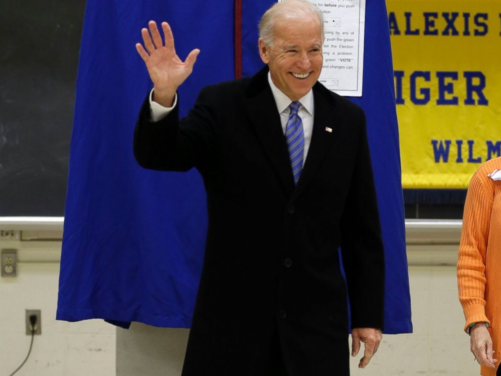 PHOTO:Joe Biden waves as he exits a voting booth after casting his ballot, Nov. 6, 2012, in Greenville, Del.