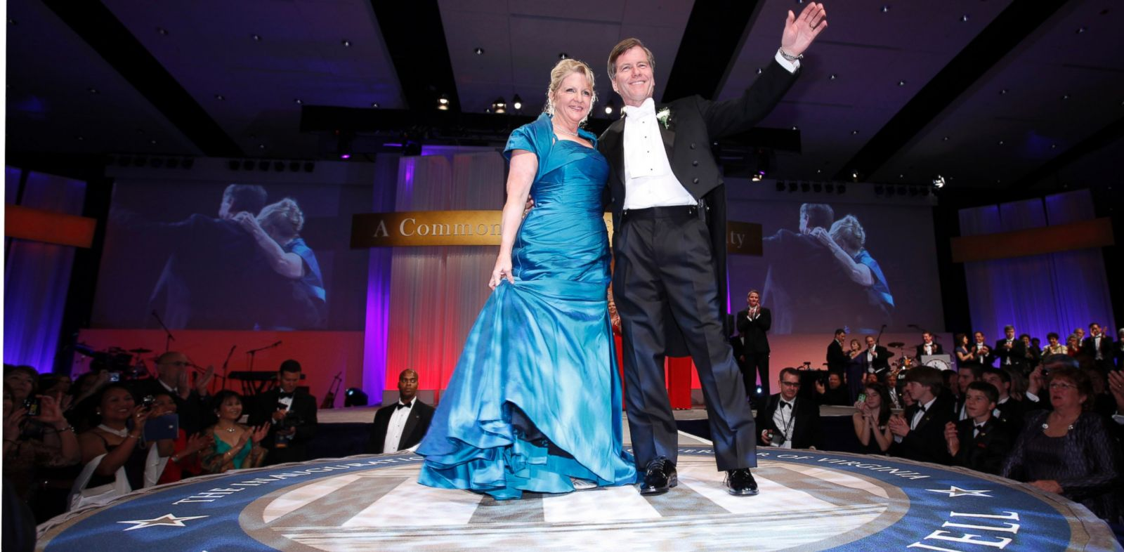 PHOTO: Virginia Gov. Bob McDonnell waves to the crowd along with his wife, Maureen during his inaugural ball in Richmond, Va., Jan. 16, 2010.