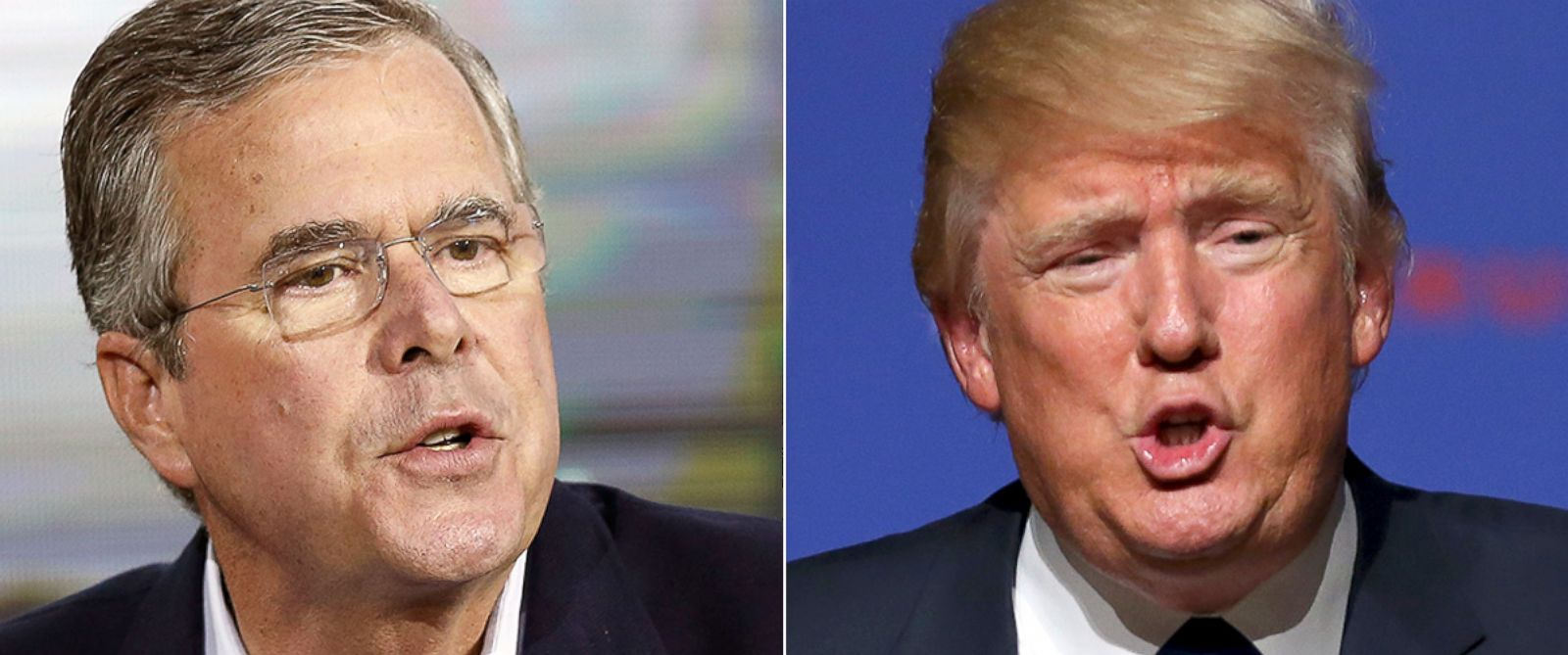 PHOTO: Republican presidential candidate, former Florida Gov. Jeb Bush, left, speaks during an education summit, Aug. 19, 2015, in Londonderry, N.H. Republican presidential candidate businessman Donald Trump speaks in Derry, N.H., Aug. 19, 2015.