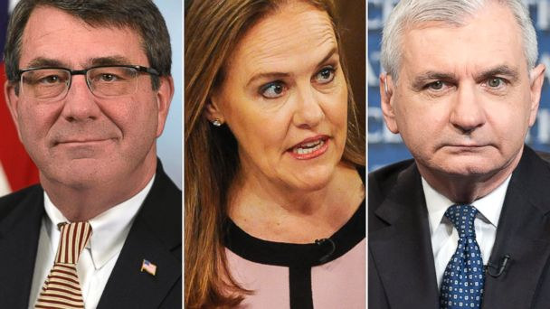 PHOTO: From left, Ashton Carter, Michelle Flournoy, and Jack Reed are pictured.