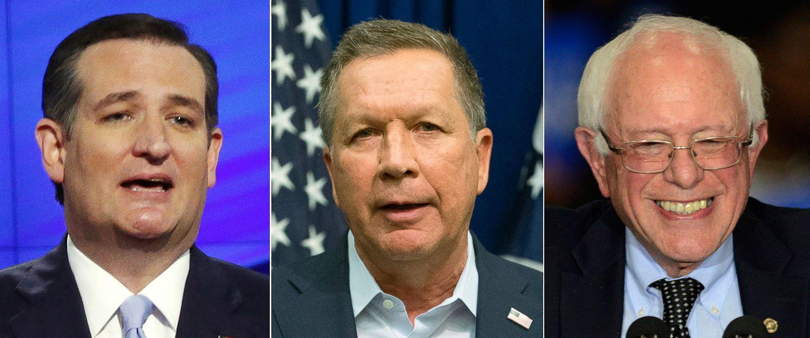 PHOTO: (L-R) Ted Cruz in Coral Gables, Fla., March 10, 2016, John Kasich in Cincinnati, March 12, 2016 and Bernie Sanders in Summit, Ill., March 11, 2016.