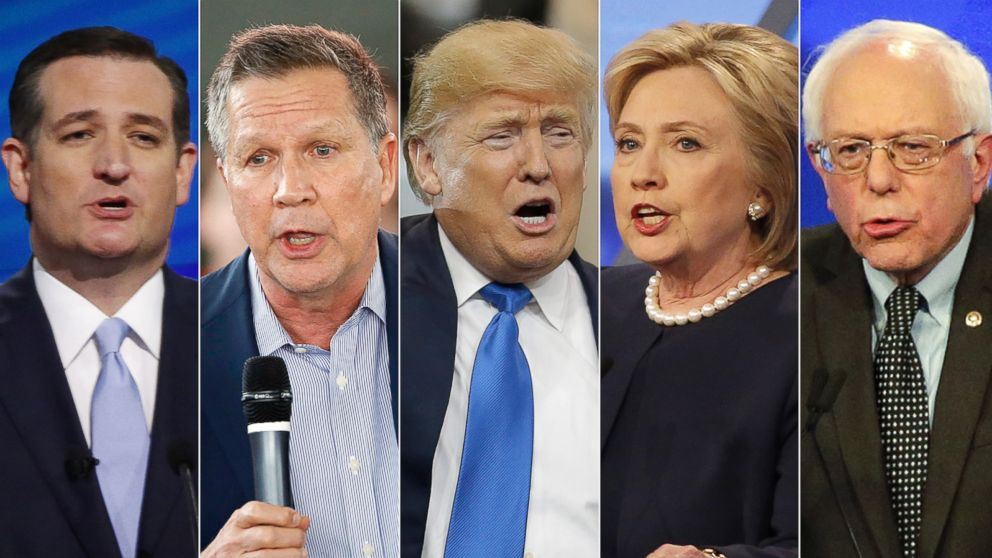 PHOTO: Pictured (L-R) are Ted Cruz in Coral Gables, Fla., March 10, 2016, John Kasich in North Canton, Ohio, March 14, 2016, Donald Trump in Cleveland, March 12, 2016 and both Hillary clinton and Bernie Sanders in Miami, March 9, 2016.