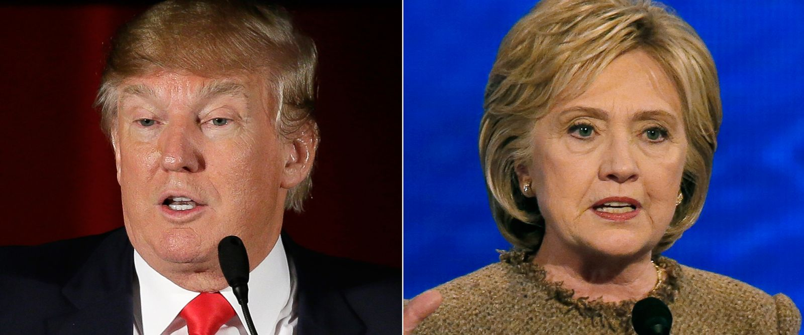 PHOTO: Pictured (L-R) are Republican presidential candidate Donald Trump in in Cedar Rapids, Iowa, Dec. 19, 2015 and Democratic presidential candidate Hillary Clinton in Manchester, N.H., Dec. 19, 2015.