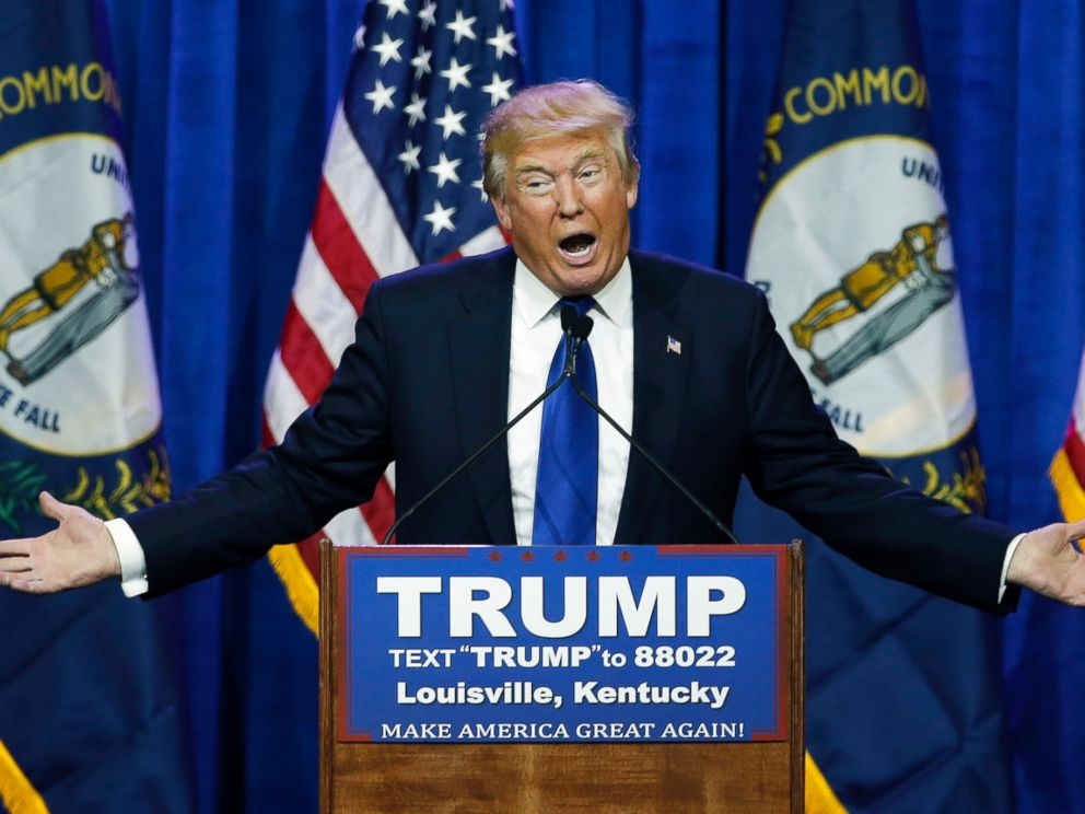 PHOTO: Republican presidential candidate Donald Trump speaks during a rally, March 1, 2016, in Louisville, Ky.