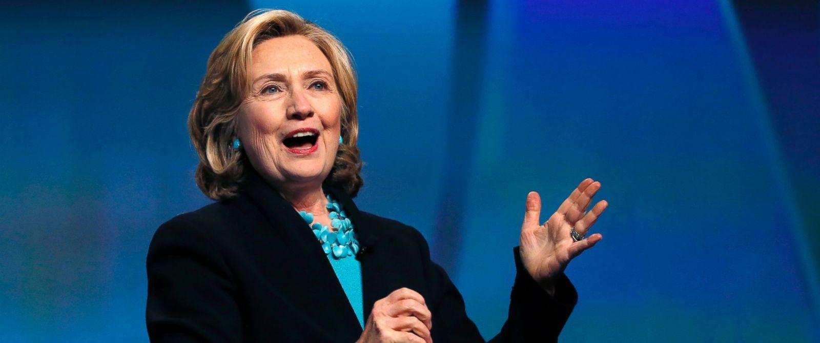 PHOTO: Former Secretary of State Hillary Rodham Clinton speaks at the Massachusetts Conference for Women in Boston, Thursday, Dec. 4, 2014.