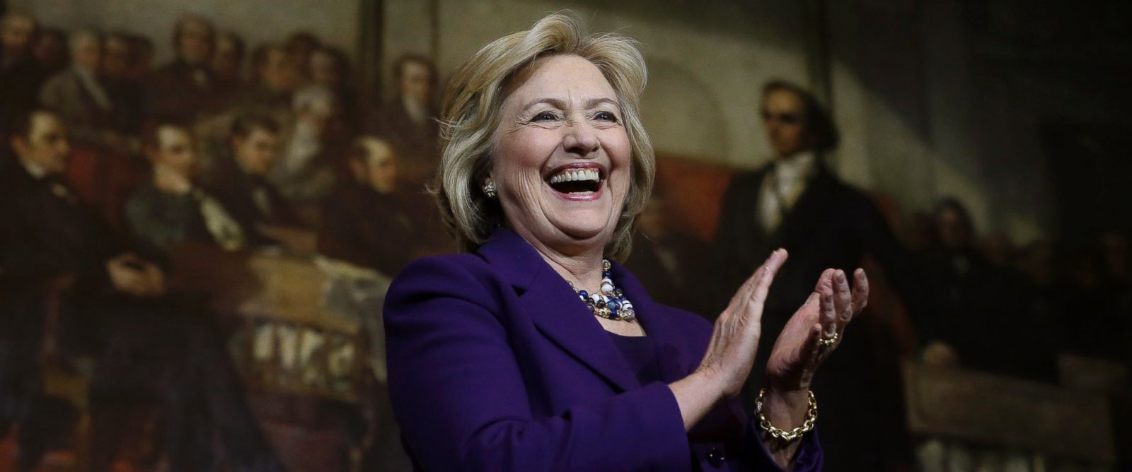 PHOTO: Democratic presidential candidate Hillary Clinton smiles on stage at the start of a rally, Nov. 29, 2015, in Boston.