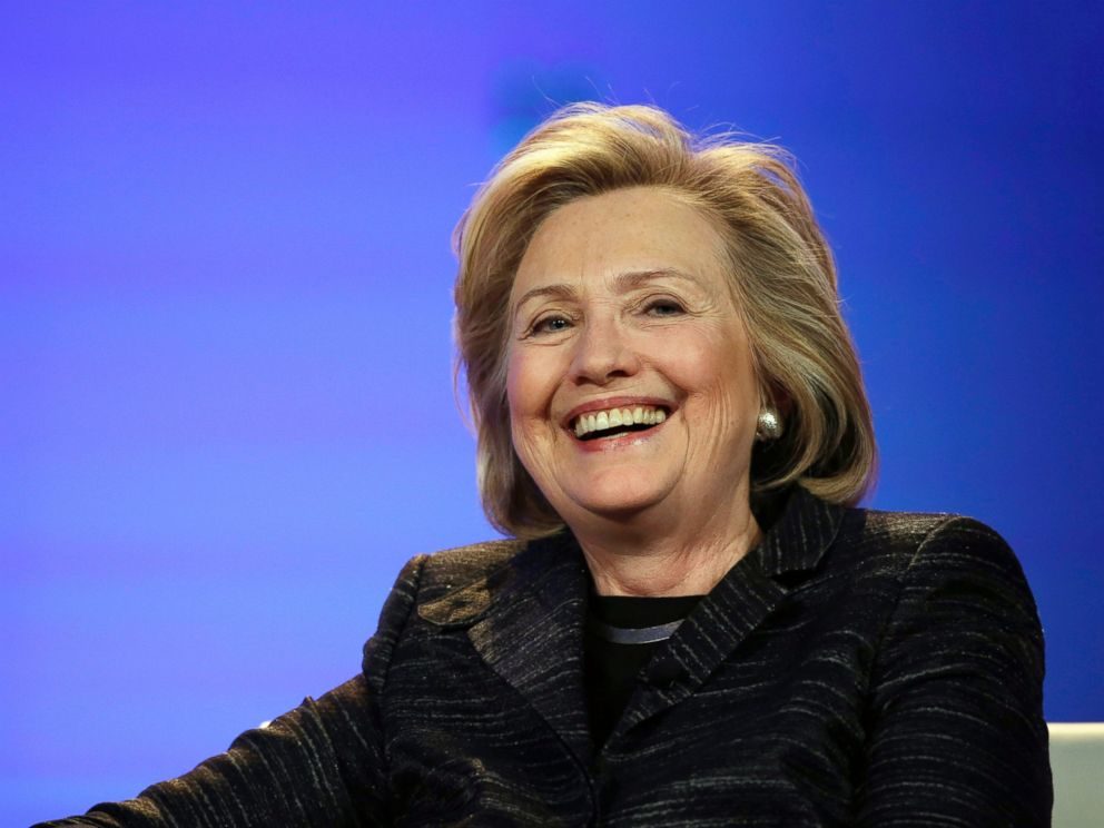 PHOTO: Hillary Rodham Clinton smiles during a keynote address at the Watermark Silicon Valley Conference for Women, Feb. 24, 2015, in Santa Clara, Calif.