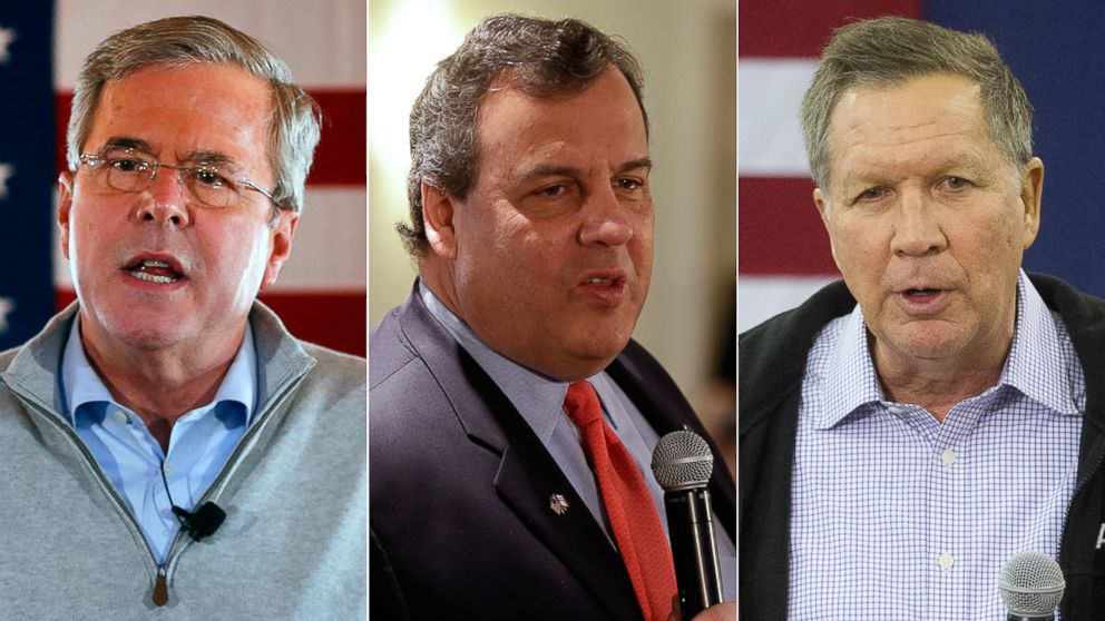 PHOTO: Pictured (L-R) are Republican presidential candidates former Florida Gov. Jeb Bush in Carroll, Iowa, Jan. 29, 2016, New Jersey Gov. Chris Christie in Iowa City, Jan. 30, 2016 and Ohio Gov. John Kasich in Keene, N.H., Jan. 30, 2016.