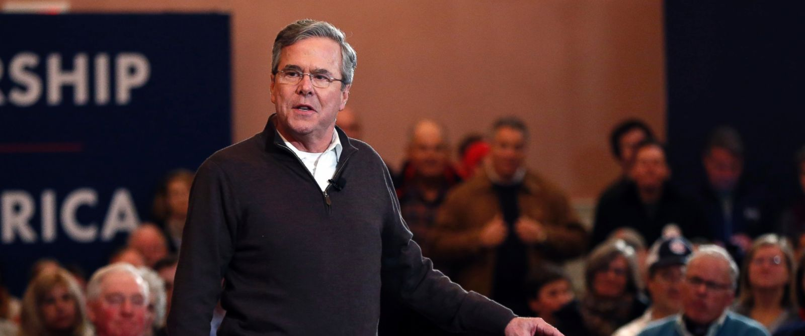 PHOTO: Republican presidential candidate, former Florida Gov. Jeb Bush, speaks at a campaign event, Feb. 8, 2016, in Portsmouth, N.H.
