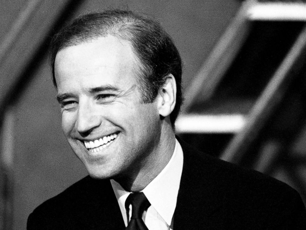 PHOTO: Sen. Joseph Biden (D-Del.), smiles while talking with reporters shortly before his appearance on NBCs Meet the Press program in Washington, April 29, 1984.