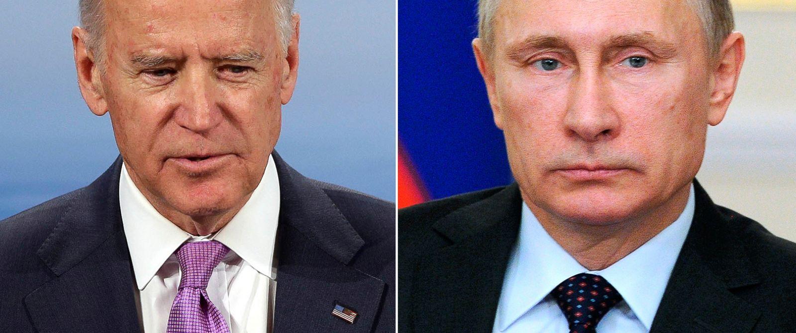 PHOTO: Vice President Joe Biden in Munich, Germany, Feb. 7, 2015. | Russian President Vladimir Putin in the Novo-Ogaryovo residence, outside Moscow, Russia, Feb. 4, 2015.