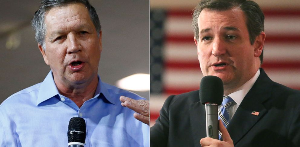 PHOTO: Pictured (L-R) are Ohio Gov. John Kasich in Hershey, Pa. and Sen. Ted Cruz in Milwaukee, April 1, 2016.