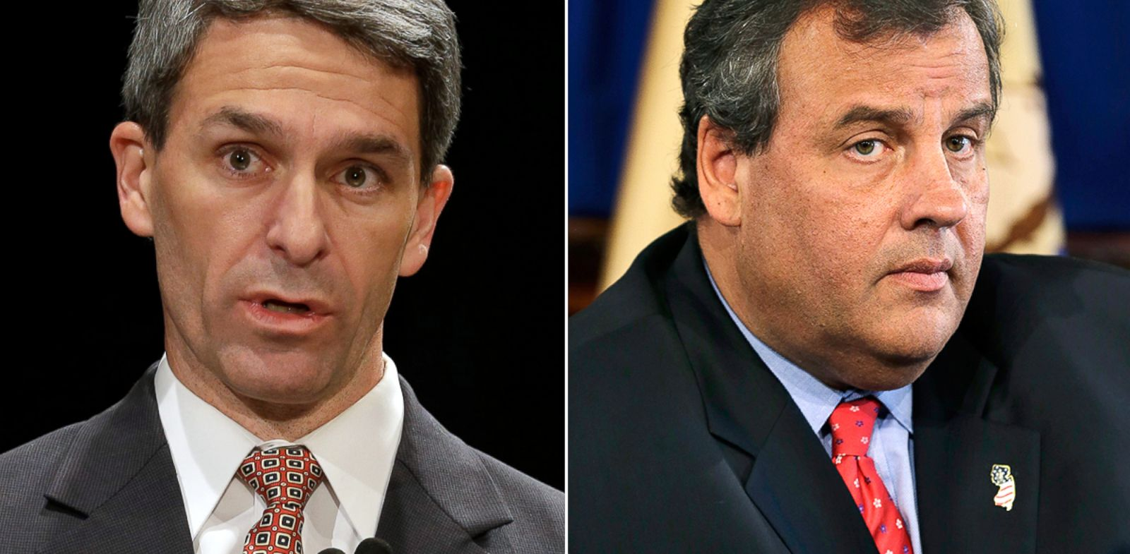 PHOTO: Ken Cuccinelli speaks during a debate at Virginia Tech in Blacksburg, Va., Thursday, Oct. 24, 2013. Chris Christie listens to a question in Trenton, N.J., Sept. 18, 2013.