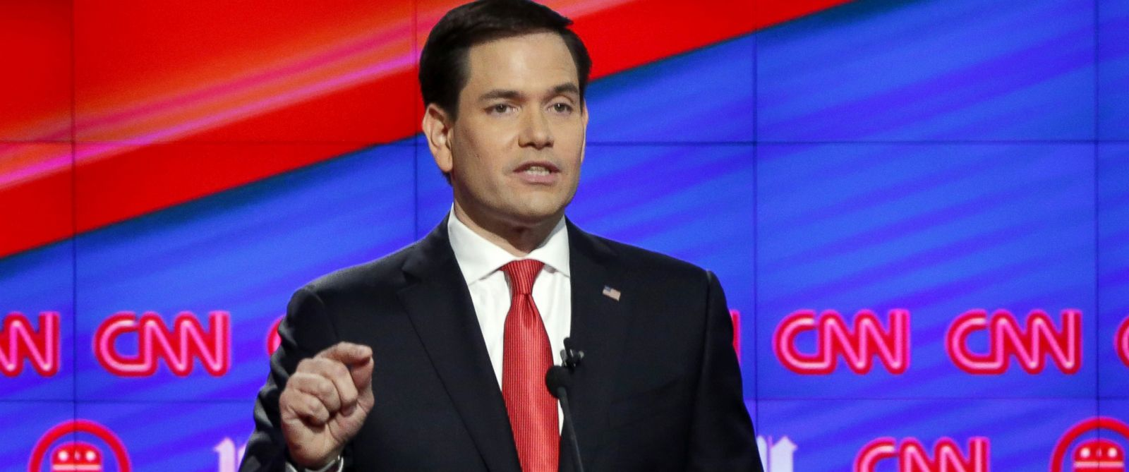 PHOTO: Republican presidential candidate Sen. Marco Rubio speaks during the Republican presidential debate sponsored by CNN, Salem Media Group and the Washington Times at the University of Miami, March 10, 2016, in Coral Gables, Fla.