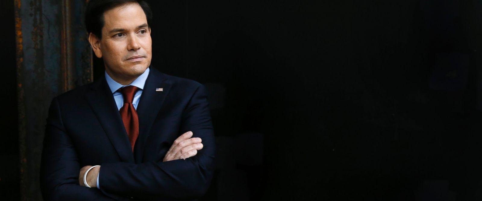 PHOTO:Republican presidential candidate Sen. Marco Rubio waits to speak at a caucus site, Feb. 1, 2016 in Clive, Iowa.