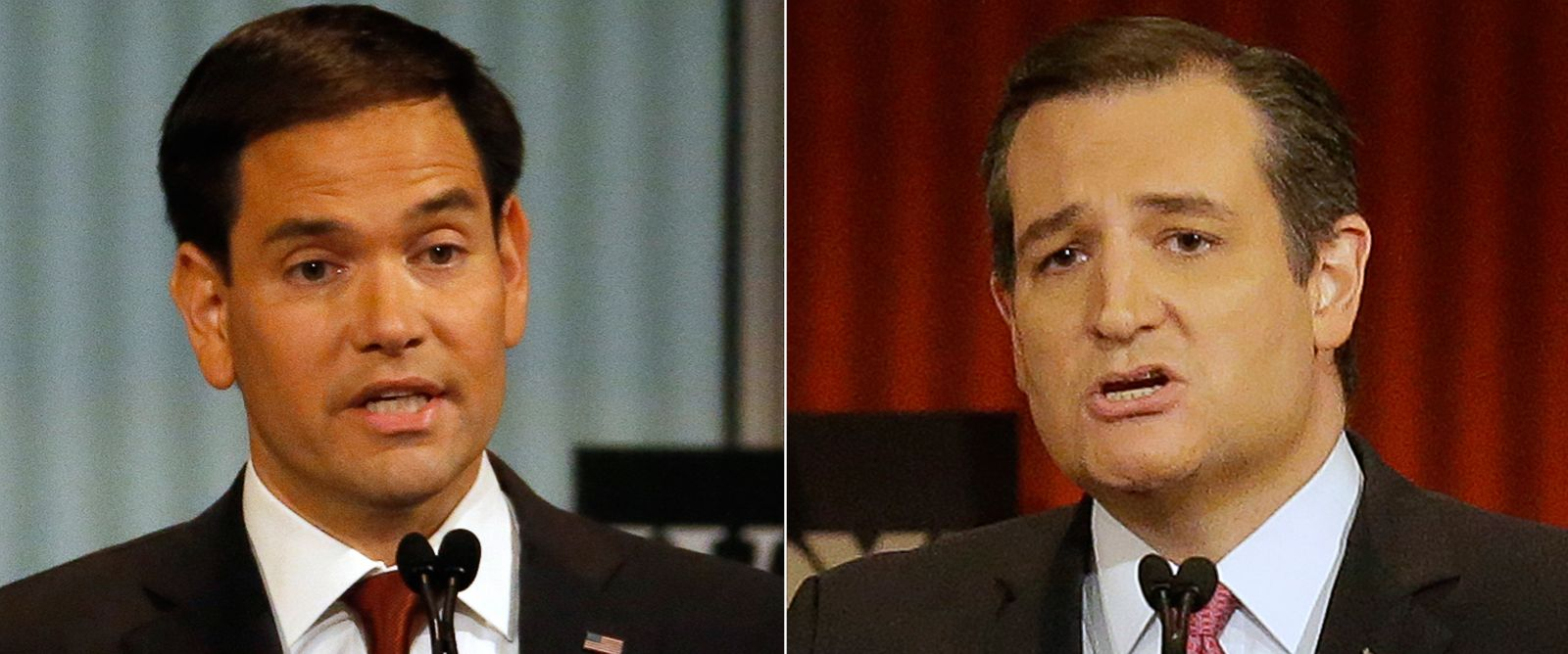 PHOTO: (L-R) Sen. Marco Rubio, R-Fla., and Ted Cruz speak during Republican presidential debate in Milwaukee, Nov. 10, 2015.