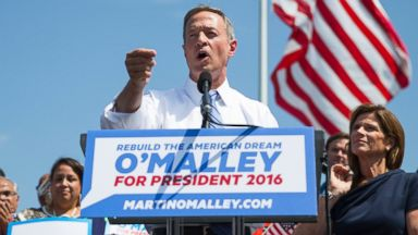 PHOTO: Former Maryland Gov. Martin OMalley speaks during an event to announce that he is entering the Democratic presidential race, on Saturday, May 30, 2015, in Baltimore, as his wife Katie, right, looks on.