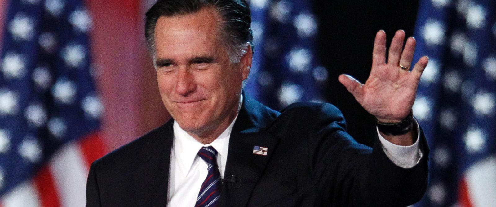 PHOTO: Mitt Romney is pictured waving to supporters at an election night rally in Boston on Nov. 7, 2012.
