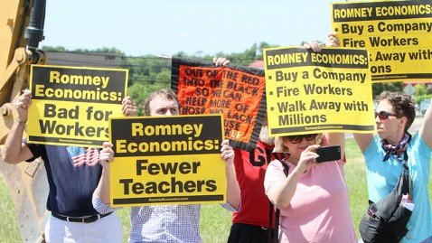 AP mitt romney protesters jt 120616 wblog Romneys Bus Tour Hits Speed Bump, Reroutes Due to Protesters