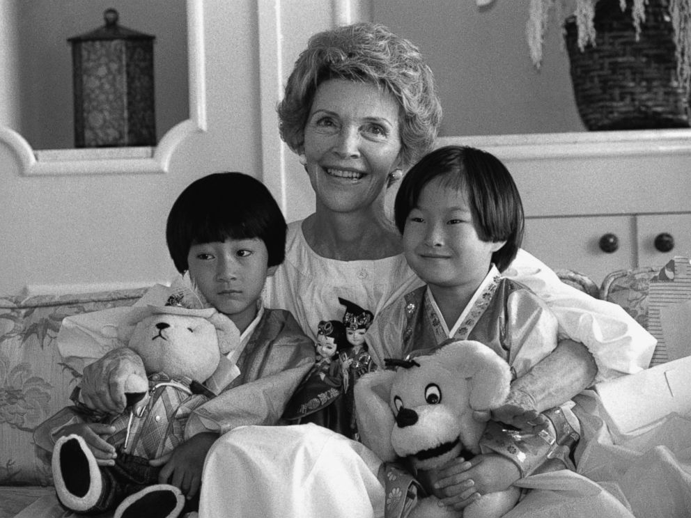PHOTO: First Lady Nancy Reagan poses with Lee Kil Woo, 5, left, and Ahn Ji Sook, 8, Sept.4, 1984 in Los Angeles. The two Korean children came to the U.S. for heart surgery.
