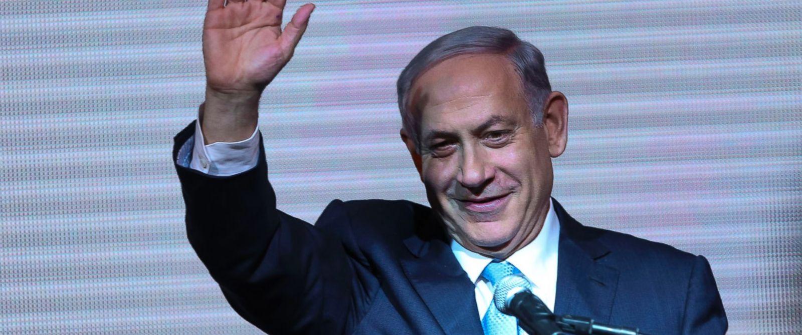 PHOTO: Israeli Prime Minister Benjamin Netanyahu greets supporters