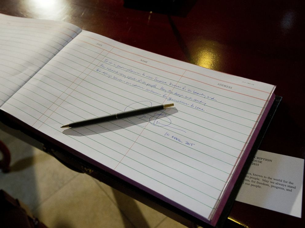 PHOTO: President Barack Obamas written message and signature are seen in the guest book during his visit to the Jamaica House, April 9, 2015, in Kingston, Jamaica.