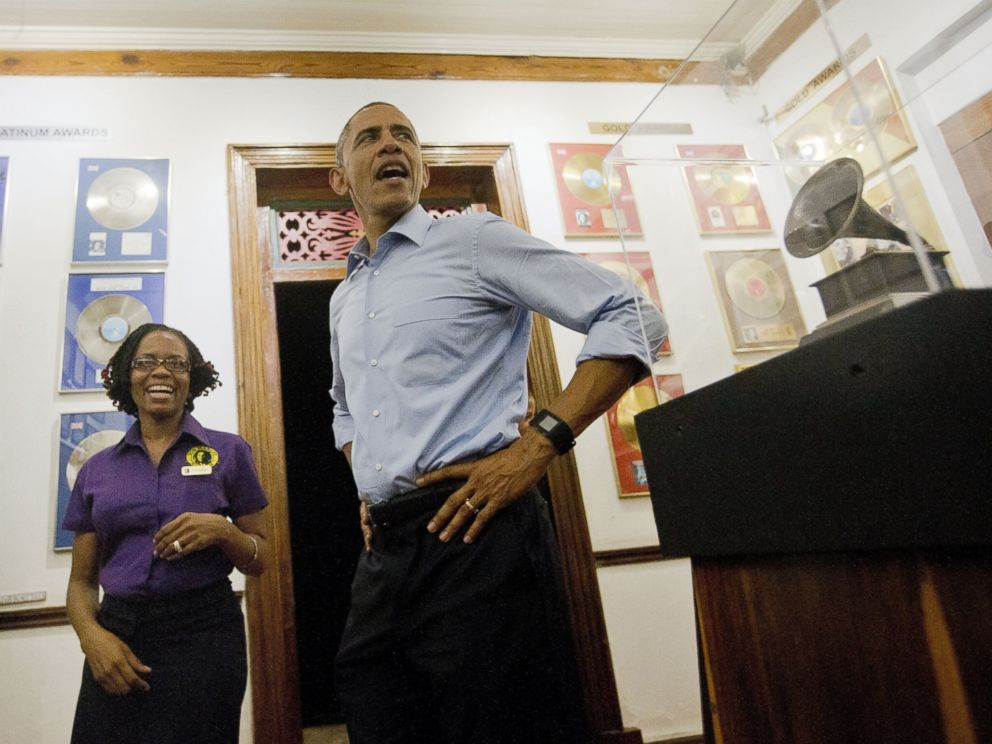 PHOTO: President Barack Obama visits the Bob Marley Museum with tour guide Natasha Clark, April 8, 2015 in Kingston, Jamaica.