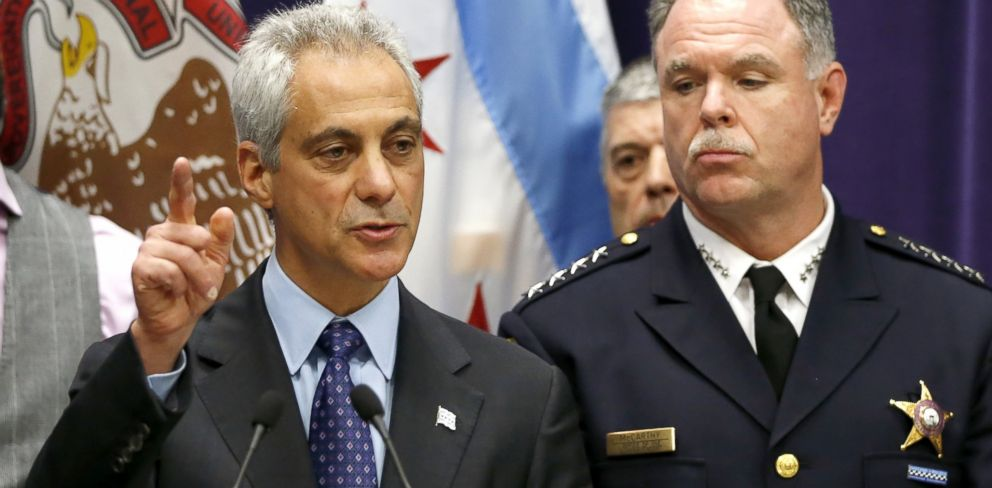 PHOTO: Chicago Mayor Rahm Emanuel, left, and Police Superintendent Garry McCarthy speak at a news conference, Nov. 24, 2015, in Chicago.