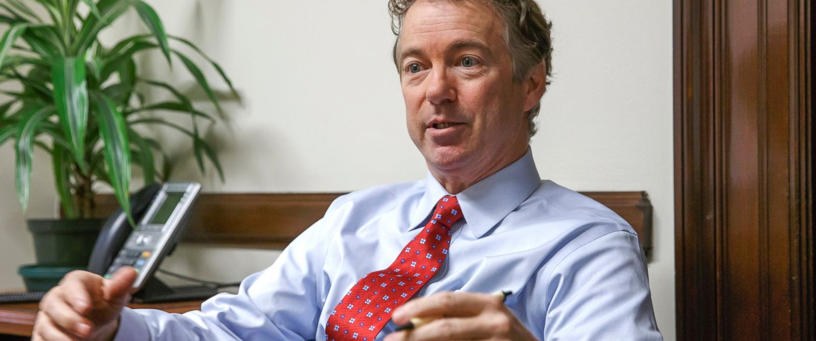 PHOTO: Sen. Rand Paul, R-Ky. speaks in his office on Capitol Hill in Washington, Feb. 10, 2015.