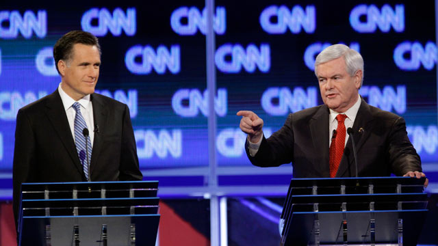 PHOTO: Republican presidential candidates, former Massachusetts Gov. Mitt Romney and former House Speaker Newt Gingrich participate in the Republican presidential candidate debate at the North Charleston Coliseum in Charleston, S.C., Jan. 19, 2012.