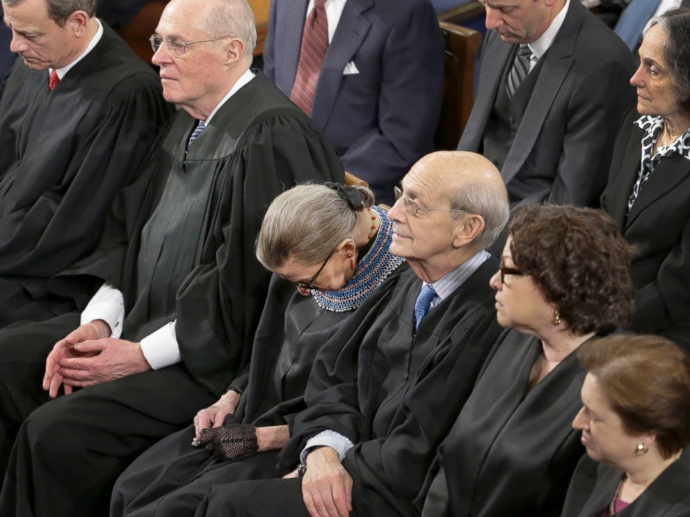 PHOTO: Justice Ruth Bader Ginsburg rests during President Barack Obamas State of the Union address on Capitol Hill in Washington, Jan. 20, 2015.