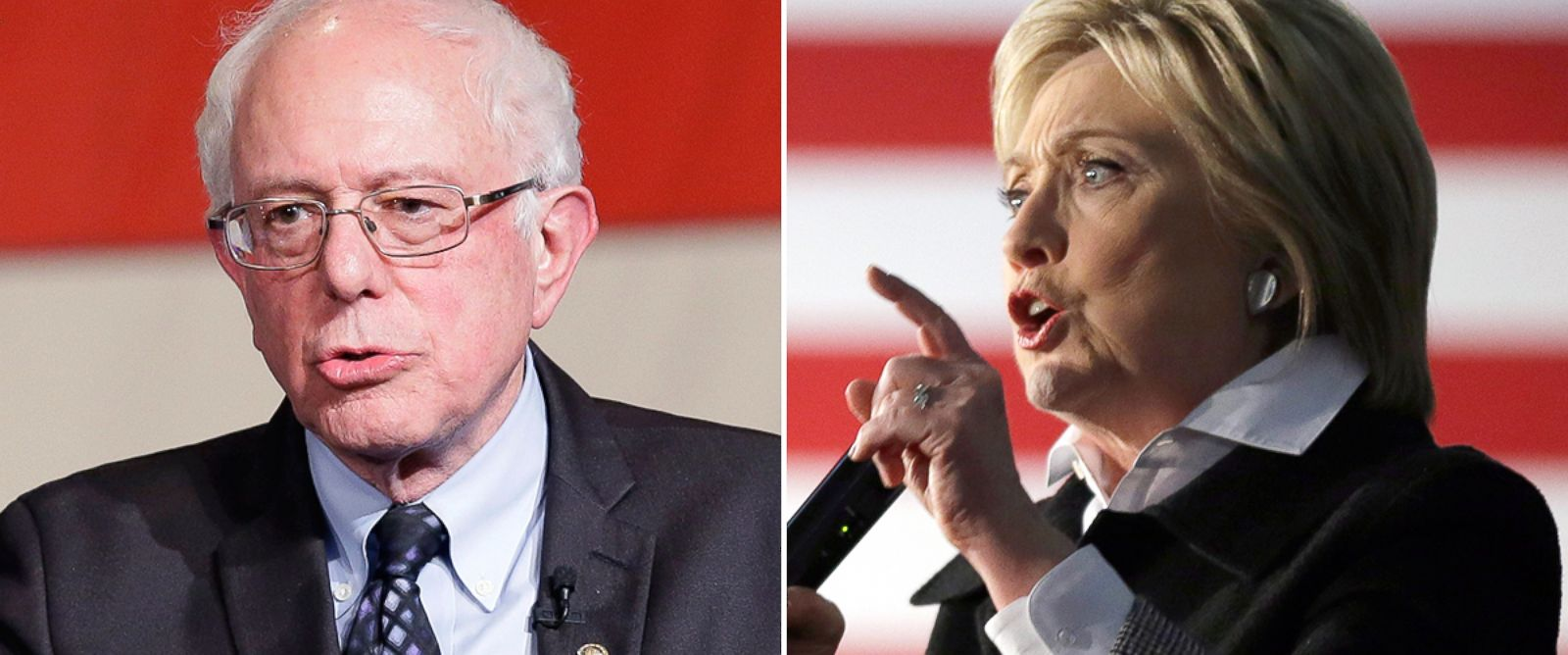 PHOTO: Bernie Sanders, left, and Hillary Clinton speak at campaign rallies in Detroit, March 7, 2016.
