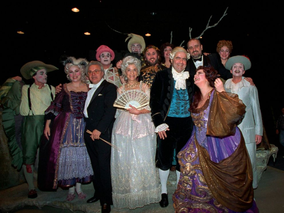 PHOTO:Supreme Court Justices Ruth Bader Ginsburg, and Antonin Scalia, fourth and fifth from left, pose with members of Ariadne auf Naxos at the Washington opera, Jan. 8, 1994. The justices, both opera lovers, appeared as extras during the performance.