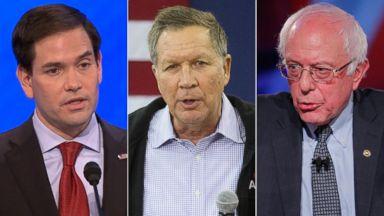 PHOTO: Pictured (L-R) are presidential candidates Sen. Marco Rubio in Manchester, N.H., Feb. 6, 2016, Ohio Gov. John Kasich in Keene, N.H., Jan. 30, 2016 and Sen. Bernie Sanders in Des Moines, Iowa, Jan. 25, 2016.