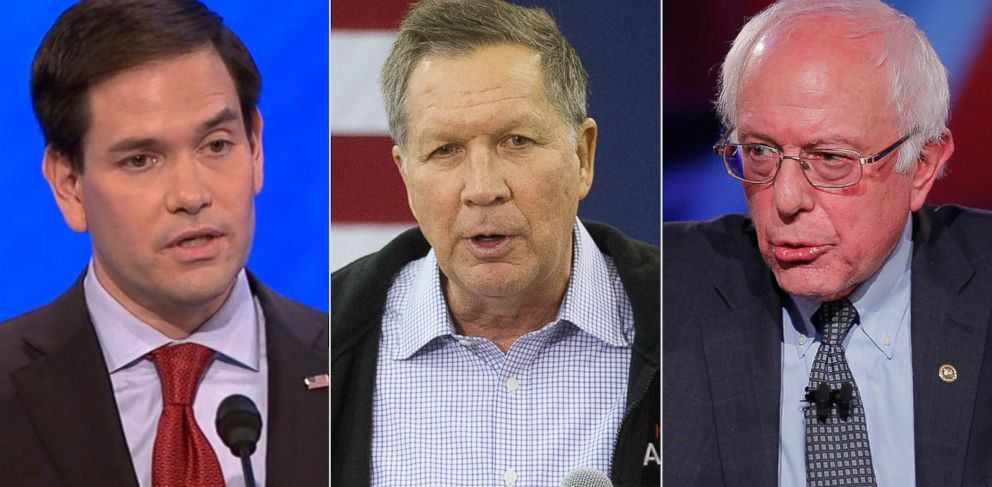 PHOTO: Pictured (L-R) are presidential candidates Sen. Marco Rubio in Manchester, N.H., Feb. 6, 2016, Ohio Gov. John Kasich in Keene, N.H., Jan. 30, 2016 and Sen. Bernie Sanders in Des Moines, Iowa, Jan. 25, 2016.